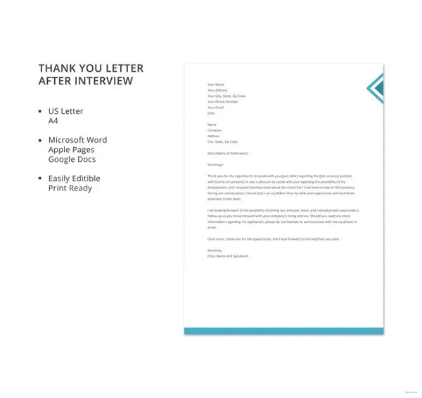 Thank You Letter After Interview \u2013 12+ Free Sample, Example Format