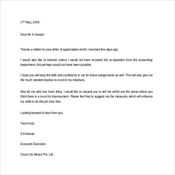 Thank You Letter for Appreciation \u2013 10+ Free Word, Excel, PDF Format - Thank You Letter Appreciation
