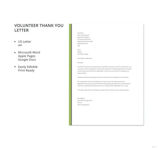 Volunteer Thank You Letter \u2013 11+ Free Sample, Example Format