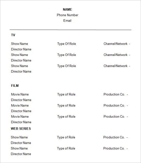 free actors resume templates - Ozilalmanoof - actors resume template