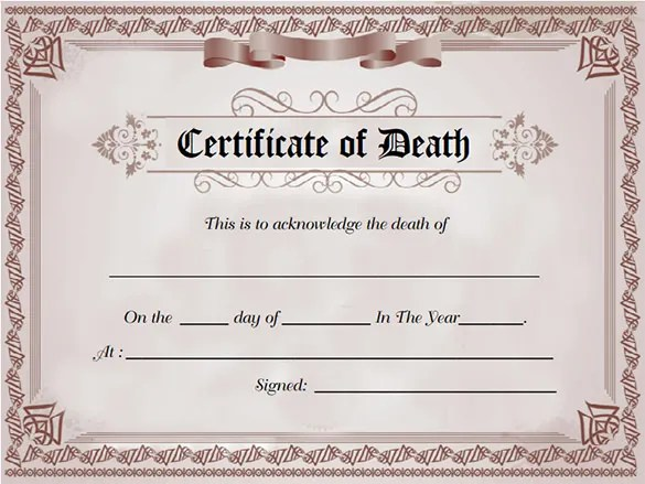 13+ Sample Death Certificate Templates - PDF, DOC Free  Premium