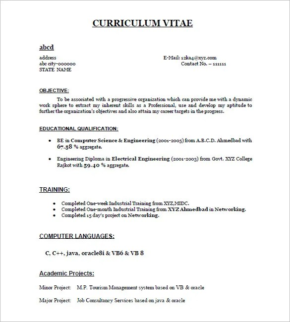 resume format example for freshers - Eczasolinf - Resumes Examples For Freshers