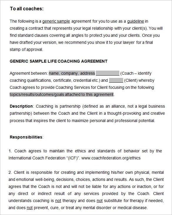 Coaching Contract Template - 7+ Free Word, PDF Documents Download - generic contract for services