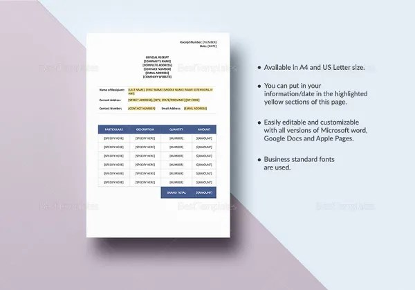 Receipt Book Template - 17+ Free Sample, Example, Format Download - book receipt format