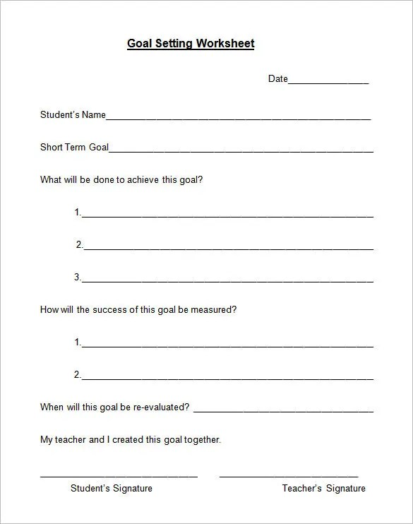 8+ Goal Setting Worksheet Templates \u2013 Free Word, PDF Documents