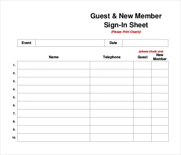 78+ Sign In Sheet Templates - DOC, PDF Free  Premium Templates - guest check template