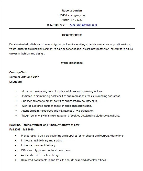 sample resume for high school - Demireagdiffusion