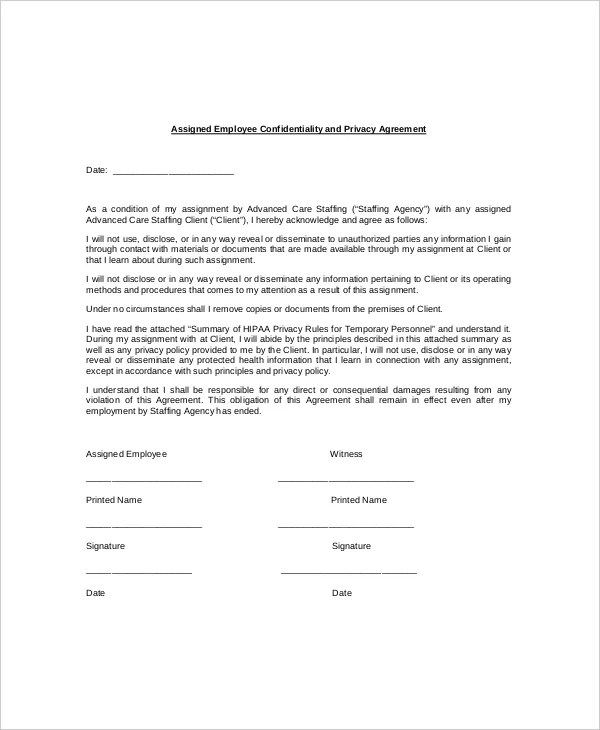 15+ Employee Confidentiality Agreement Templates \u2013 Free Sample
