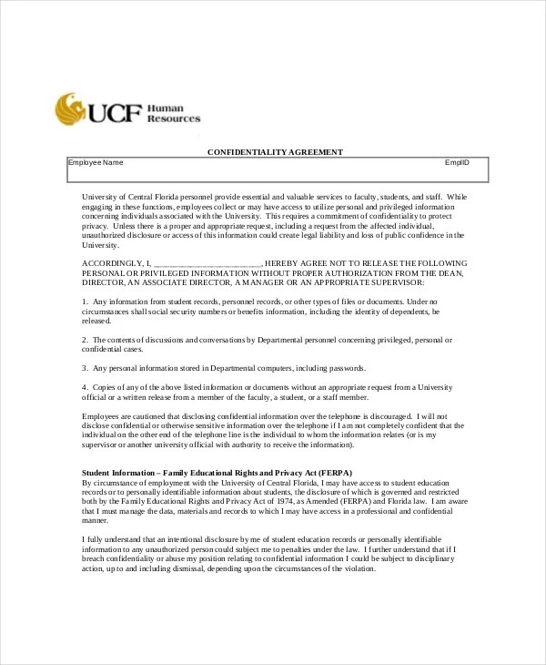 Human Resources Confidentiality Agreement \u2013 10+ Free Word, PDF