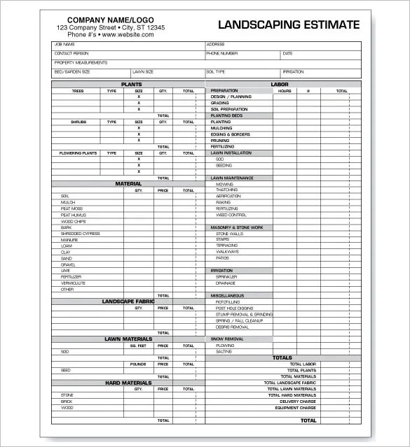 landscape pricing sheet - Pinephandshakeapp - Price Sheet Template Free