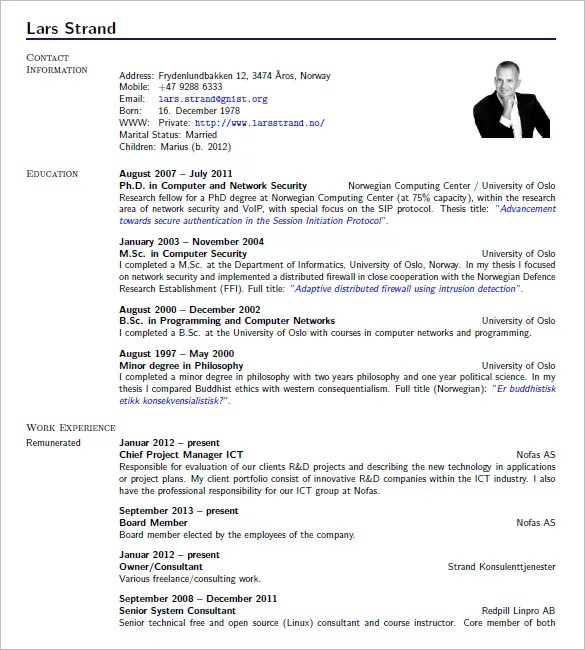 15+ Latex Resume Templates - PDF, DOC Free  Premium Templates - Cv Forms Samples