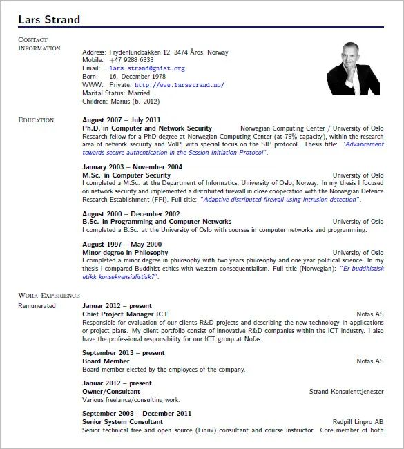 template cv latex academic
