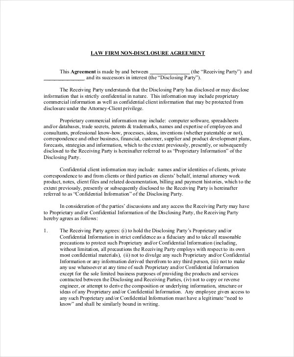 Legal Confidentiality Agreement \u2013 8+ Free Word, PDF Documents