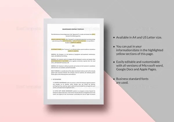 13+ Maintenance Contract Templates - Free Word, PDF Documents - property maintenance contract template
