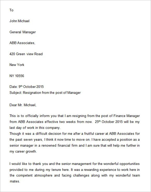 Example Of Resignation Letter Acceptance Hr Letter Formats Two Weeks Notice Letter 31 Free Word Pdf Documents