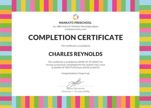 Preschool Certificate Template - 16+ Free Word, PDF PSD Format
