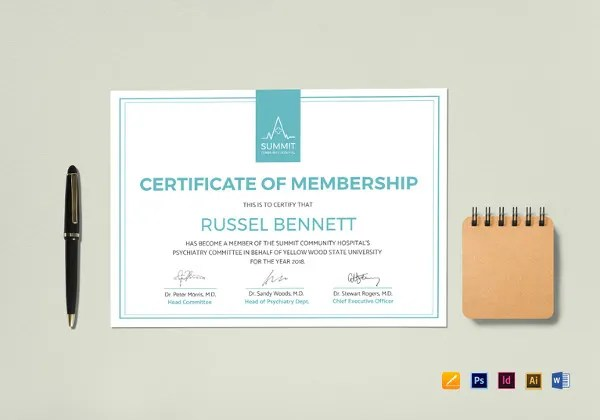Membership Certificate Template - 23+ Free Word, PDF Documents - membership certificate templates