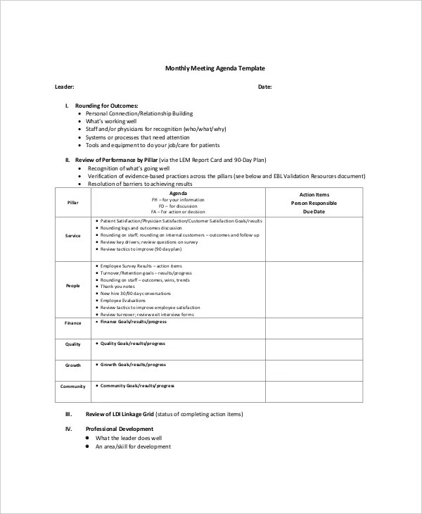 12+ Microsoft Meeting Agenda Templates \u2013 Free Sample, Example Format - meeting template sample