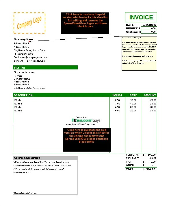 blank invoice template xls | resume maker: create professional, Invoice examples