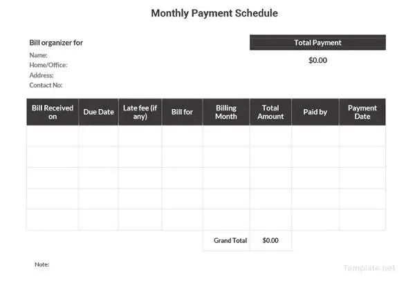 22+ Payment Schedule Templates - Word, Excel, PDF Free  Premium