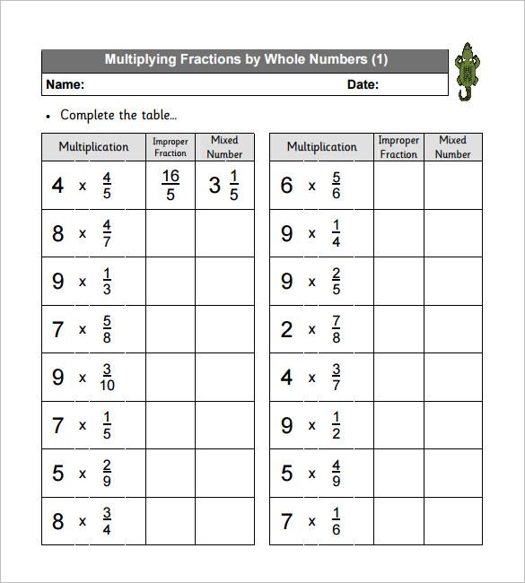 11+ Multiplying Fractions Worksheet Templates \u2013 Free PDF Documents