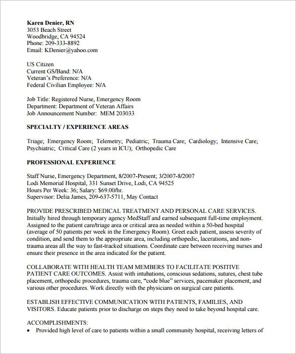 Federal Resume Template \u2013 10+ Free Samples, Examples, Format - federal resume