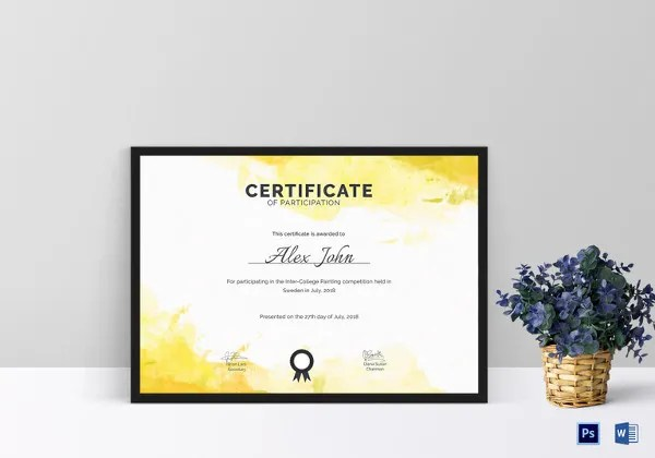 25+ Participation Certificate Templates - PDF, DOC, PSD F Free - certificate of participation template