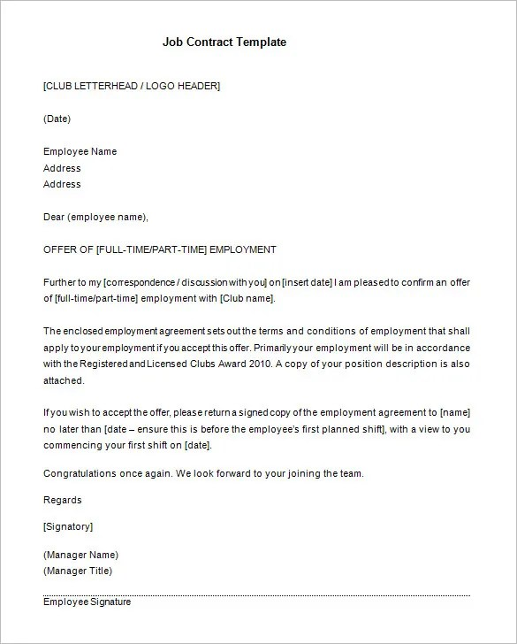 11+ Job Contract Templates u2013 Free Word, PDF Documents Download - job agreement contract