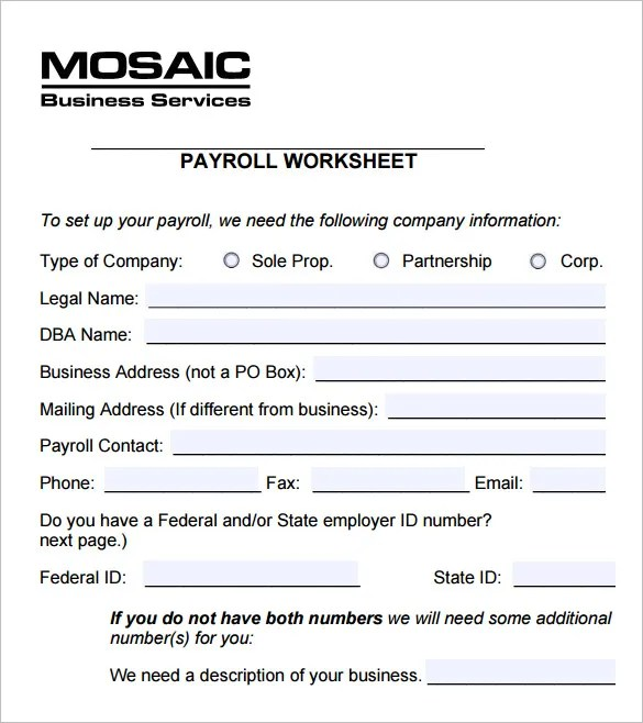 5+ Payroll Worksheet Templates u2013 Free Excel Documents Download - payroll templates free