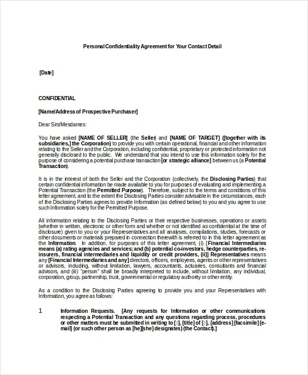 Personal Confidentiality Agreement \u2013 8+ Free Word, PDF Documents