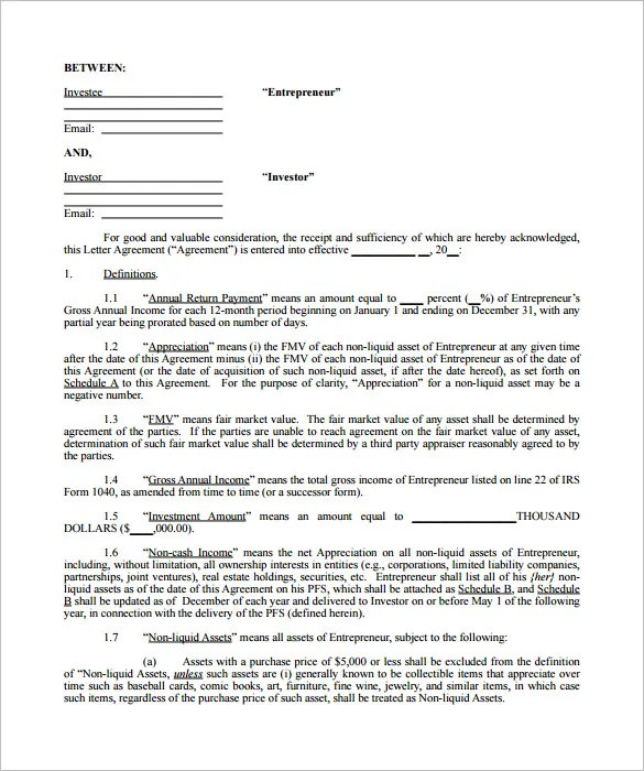 11+ Investment Contract Templates - PDF, DOC Free  Premium Templates - business investment contract