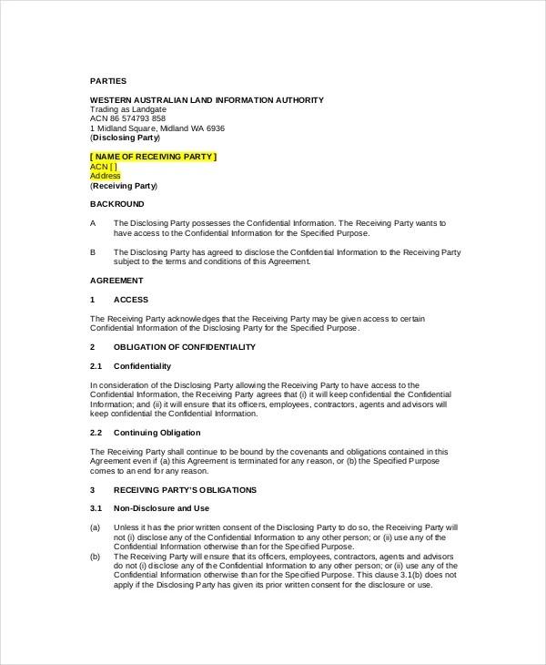 Standard Confidentiality Agreement \u2013 6+ Free Word, PDF Documents