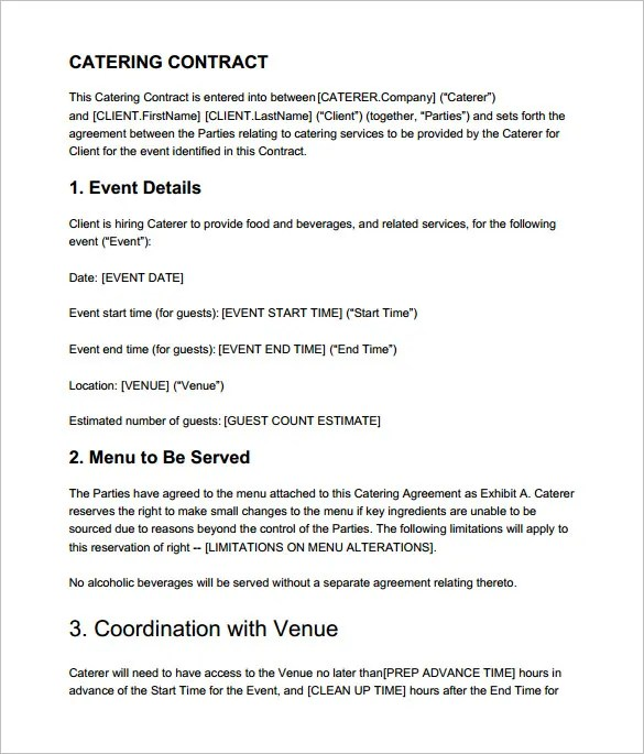 Catering Proposal Sample Catering Menu Proposal Template Catering - proposal contract template