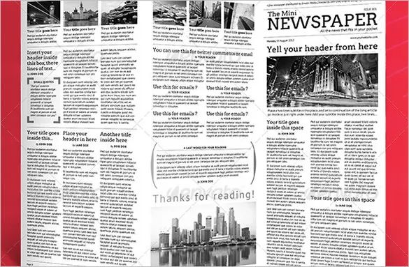 mini newspaper template