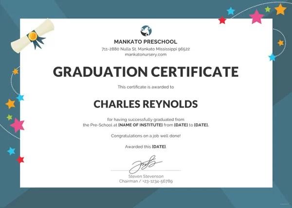 Preschool Certificate Template - 16+ Free Word, PDF PSD Format - kindergarten graduation certificates