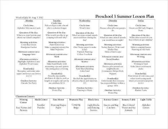 Preschool Lesson Plan Template - 21+ Free Word, Excel, PDF Format