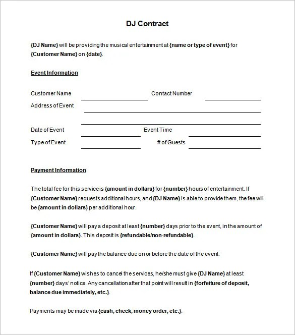 Dj Business Contract Template | Sample Cv For Practice Nurse