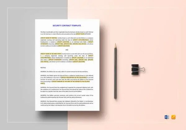 11+ Security Contract Templates \u2013 Free Word, PDF Format Download - security agreement template
