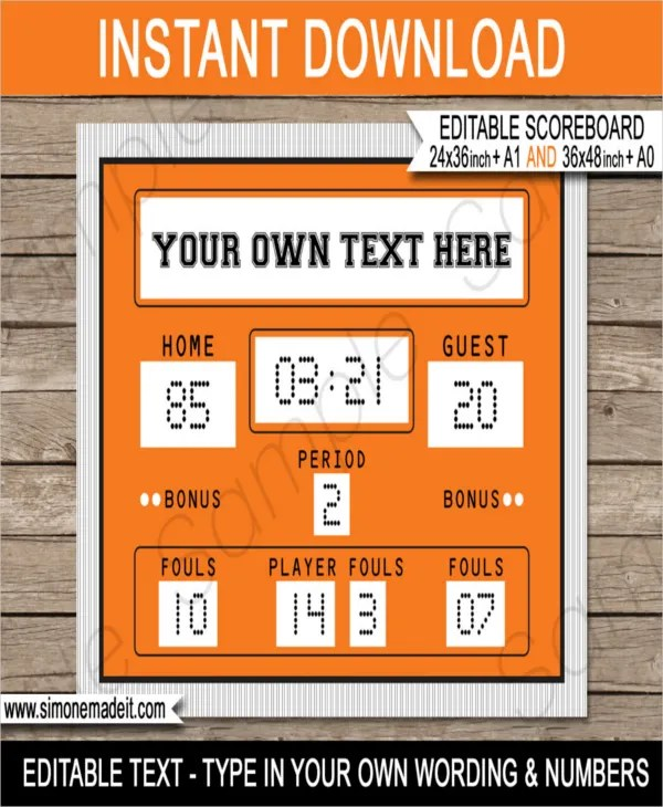 Basketball Scoreboard Template \u2013 8+ Word, PDF Documents Download