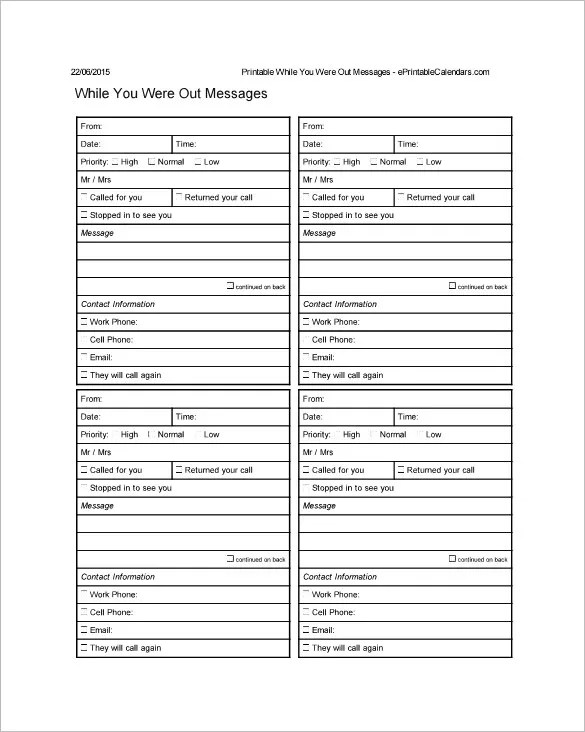 21+ Phone Message Templates - PDF, DOC Free  Premium Templates - contact information template word