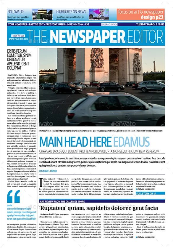 newspaper article layout template