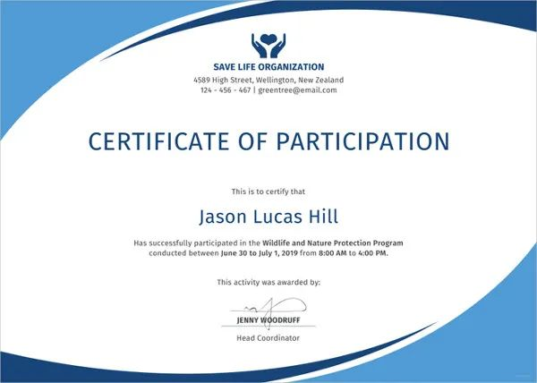 particpation certificate