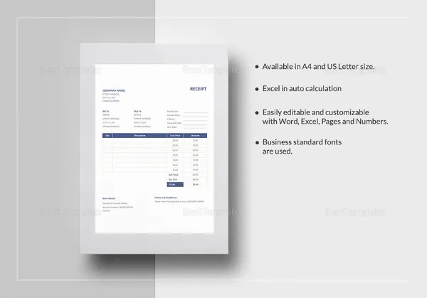 Business Receipt Template - 17+ Free Sample, Example, Format - business receipts template