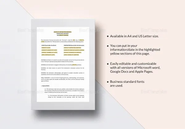 3+ Renovation Contract Templates u2013 Free Word, PDF Format Download - remodeling contract template