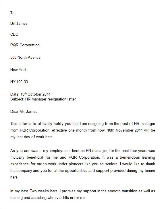 34+ Two Weeks Notice Letter Templates - PDF, Google Docs, MS Word