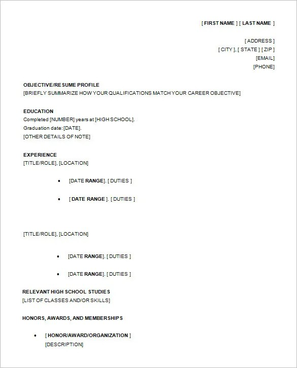 resume templates for students in high school resume templates for