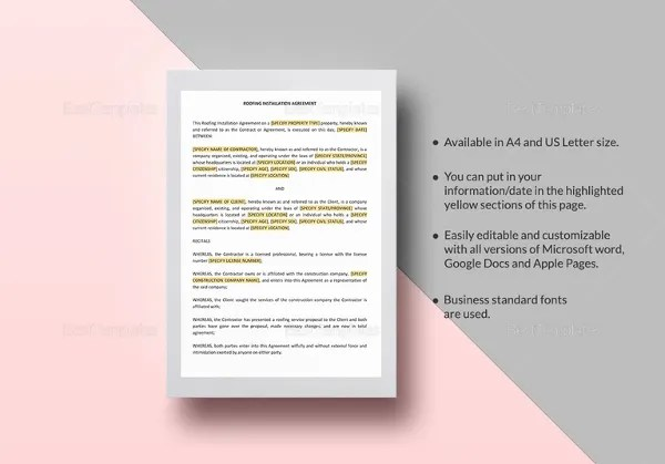 7+ Roofing Contract Templates u2013 Free PDF Format Download! Free - roofing contract template