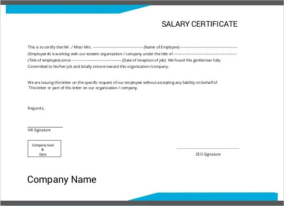Printable Certificate Template - 46+ Adobe Illustrator Documents - salary certificate template