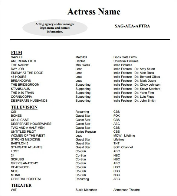11+ Acting Resume Templates - Free Samples, Examples,  Formats - Sample Actors Resume