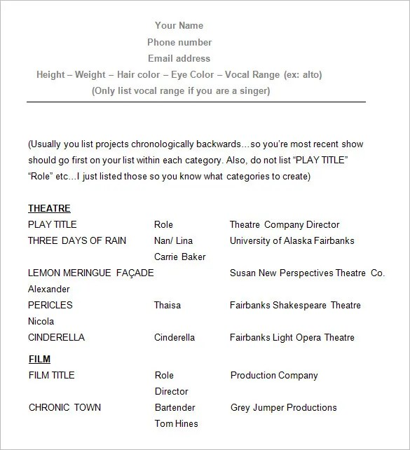 standard acting resume format acting resume format - Resume Format For Actors